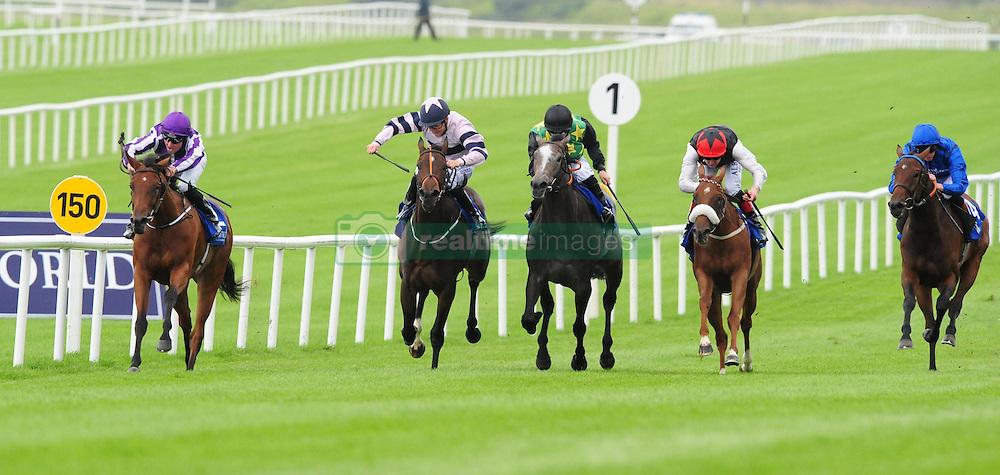 Hydrangea and Seamus Heffernan (left) win the Loder European Breeders Fund Fillies Race at Curragh Racecourse, Co. Kildare, Ireland.