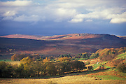 Looking north across the National Trust's Longshaw Estate to Higgar Tor and Stanage, Peak District