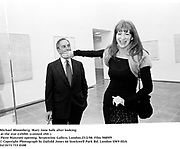Michael Bloomberg, Mary Jane Salk  (after looking<br /> at the star exhibit. Piero Manzoni, Wednesday Opening.Serpentine Gallery, London.25/2/98. Film 9889f9<br />© Copyright Photograph by Dafydd Jones<br />66 Stockwell Park Rd. London SW9 0DA<br />Tel 0171 733 0108
