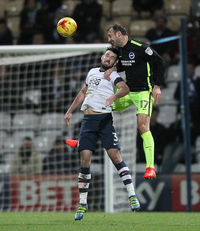 Preston North End's Greg Cunningham jumps with Brighton & Hove Albion's Glenn Murray<br /> <br /> Photographer Mick Walker/CameraSport<br /> <br /> The EFL Sky Bet Championship - Preston North End v Brighton & Hove Albion - Saturday 14th January 2017 - Deepdale - Preston<br /> <br /> World Copyright © 2017 CameraSport. All rights reserved. 43 Linden Ave. Countesthorpe. Leicester. England. LE8 5PG - Tel: +44 (0) 116 277 4147 - admin@camerasport.com - www.camerasport.com