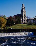 Pawtucket Congregational Church and the Seekonk River, Pawtucket, Rhode Island.