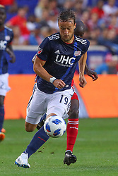 July 21, 2018 - Harrison, NJ, U.S. - HARRISON, NJ - JULY 21:  New England Revolution defender Antonio Delamea Mlinar (19) controls the ball during the first half of the Major League Soccer game between the New York Red Bulls and the New England Revolution on July 21, 2018, at Red Bull  Arena in Harrison, NJ.(Photo by Rich Graessle/Icon Sportswire) (Credit Image: © Rich Graessle/Icon SMI via ZUMA Press)