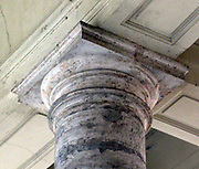 Column detail from Saint Peter's Square or the Piazza San Pietro, a large plaza which stands in front of St. Peter's Basilica in the Vatican City, Italy.