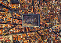 Aerial view above of Plaza Mayor, Madrid, Spain