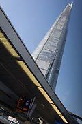 The Shard tower rises high above platform 6 of London Bridge rail station, on 21st January 2020, in London, England.