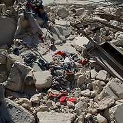 August 11, 2012 - Tarafat, Aleppo, Syria: Rubble of a destroyed residential area in Tarafat village, near Aleppo. The Syrian Army warplanes have recently bombed residential areas and the only two schools in the village, with 200 kilogram bombs. (Paulo Nunes dos Santos/Polaris)