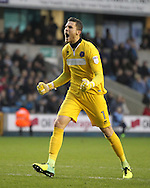 Jayson Leutwiler of Shrewsbury Town Celebrates their goal during the Sky Bet League 1 match at The Den, London<br /> Picture by Richard Brooks/Focus Images Ltd 07947656233<br /> 10/12/2016