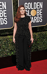 Debra Messing at the 75th Golden Globe Awards held at the Beverly Hilton in Beverly Hills, CA on January 7, 2018.<br /><br />(Photo by Sthanlee Mirador)