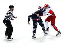 Fight between Mike Glumac of KHL Medvsecak Zagreb and Maxim Mamin of CSKA Moscow during KHL League ice hockey match between KHL Medvescak Zagreb and CSKA Moscow, on November 16, 2015 in Dvorana Sportova, Zagreb, Croatia. (Photo By Matic Klansek Velej / Sportida)
