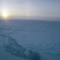 "ARCTIC OCEAN, Leads, pressure ridges & fractured sea ice in ""Shear Zone"" near Severnaya Zemlya, Russia."