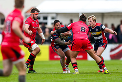 Alapati Leiua of Bristol Rugby is tackled by Rory Pitman of Jersey Reds - Rogan/JMP - 28/10/2017 - RUGBY UNION - Stade Santander International - St Peter, Jersey - Jersey Reds v Bristol Rugby - Greene King IPA Championship.