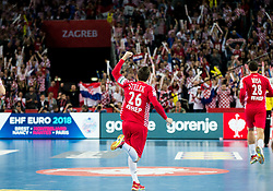 Manuel Strlek of Croatia celebrates during handball match between National teams of Croatia and France on Day 7 in Main Round of Men's EHF EURO 2018, on January 24, 2018 in Arena Zagreb, Zagreb, Croatia.  Photo by Vid Ponikvar / Sportida