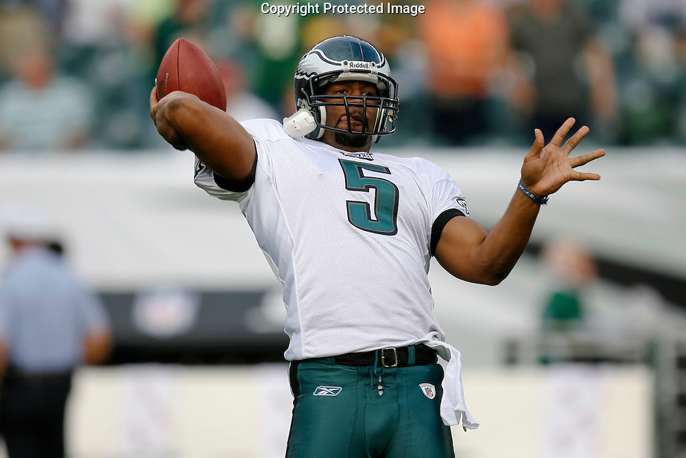 28 August 2008: Philadelphia Eagles quarterback Donovan McNabb #5 warms up before the game against the New York Jets on August 28, 2008. The Jets beat the Eagles 27 to 20 at Lincoln Financial Field in Phialdelphia, Pennsylvania.