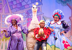 Mother Goose <br /> at the Hackney Empire, London, Great Britain <br /> press photocall<br /> 20th November 2014 <br /> <br /> Sharon D Clarke as Charity <br /> Alix Ross as Priscilla (the Goose) <br />  Kat B as Billy Goose <br /> Clive Rowe as Mother Goose <br /> <br /> Photograph by Elliott Franks <br /> Image licensed to Elliott Franks Photography Services