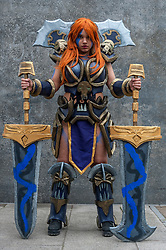 © Licensed to London News Pictures. 24/05/2015. London, UK. A girl dressed as Sonia from Heroes of the Storm poses, as fans of anime, comic books, video games and more gather in large numbers at the Excel Centre to attend the bi-annual MCM Comic Con. Photo credit : Stephen Chung/LNP