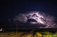 A tornadic supercell at night in Kansas, May 9, 2015.