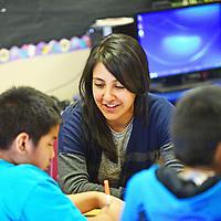 Teacher Kristen Juarez guides students through a lesson at Dowa Yalanne Elementary in Zuni Wednesday.