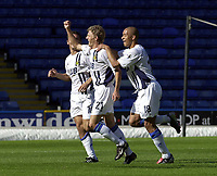 Photo: Greig Cowie.<br /> 13/09/2003.<br /> Nationwide League Division 1. Wimbledon v Wigan Athletic, Selhurst Park.<br /> Jimmy Bullard salutes the travelling supporters as he puts Wigan one up