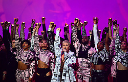 Pink performs on stage at the Brit Awards 2019 at the O2 Arena, London. PRESS ASSOCIATION PHOTO. Picture date: Wednesday February 20, 2019. See PA story SHOWBIZ Brits. Photo credit should read: Victoria Jones/PA Wire. EDITORIAL USE ONLY.