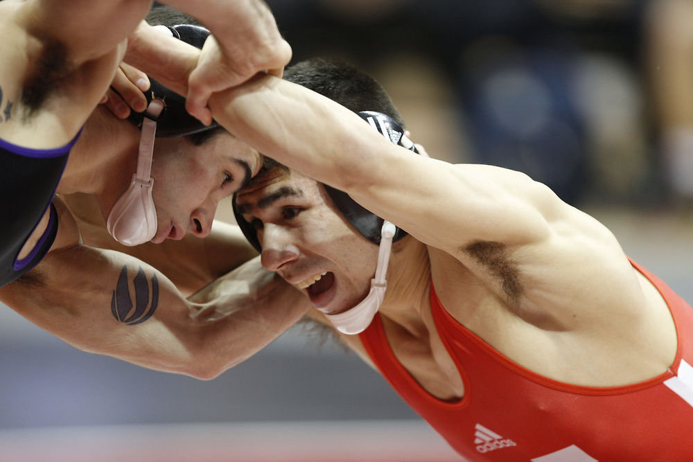 Eric Montoya wrestles  at the Bob Devaney Sports Center in Lincoln, Neb., on Feb. 12, 2016. Photo by Aaron Babcock, Hail Varsity