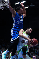 November 8, 2017 - Saint Petersburg, Russia - Drew Gordon of Zenit St. Petersburg (L) and Baris Ermis of Tofas Bursa vie for the ball during the EuroCup Round 5 regular season basketball match between Zenit St. Petersburg and Tofas Bursa at the Yubileyny Sports Palace in St. Petersburg, Russia, November 08, 2017. (Credit Image: © Igor Russak/NurPhoto via ZUMA Press)