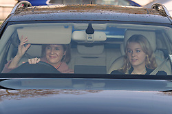 Lady Serena Armstrong-Jones and Lady Margarita Armstrong-Jones arriving for the Queen's Christmas lunch at Buckingham Palace, London.