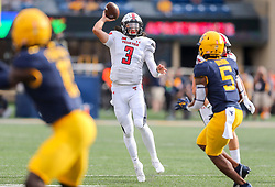 Oct 2, 2021; Morgantown, West Virginia, USA; Texas Tech Red Raiders quarterback Henry Colombi (3) throws a pass during the second quarter against the West Virginia Mountaineers at Mountaineer Field at Milan Puskar Stadium. Mandatory Credit: Ben Queen-USA TODAY Sports