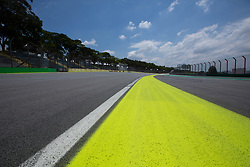 October 31, 2018 - Sao Paulo, Sao Paulo, Brazil - The Interlagos autodrome in Sao Paulo receives improvements for the Brazilian GP of Formula 1, which takes place on November 11..The main innovation is yellow stripes, painted on the track, at the entrance of the box, to give greater visibility to the pilots in case of rain. (Credit Image: © Paulo Lopes/ZUMA Wire)