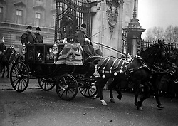 The bridegroom, the Duke of York (later King George VI) leaving Buckingham Palace by carriage for Westminster Abbey in London, before the royal wedding to Lady Elizabeth Bowes-Lyon (later the Queen Mother)