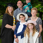 """25.08.2016          <br />  Faculty of Business, Kemmy Business School graduations at the University of Limerick today. <br /> <br /> Attending the conferring was Higher Certificate in Supervisory and Human Resources Practice graduate, Fiona Steed with her husband John Hayes and children, Sally, Roisin and Bill and her mother Maureen Steed. Picture: Alan Place.<br /> <br /> <br /> As the University of Limerick commences four days of conferring ceremonies which will see 2568 students graduate, including 50 PhD graduates, UL President, Professor Don Barry highlighted the continued demand for UL graduates by employers; """"Traditionally UL's Graduate Employment figures trend well above the national average. Despite the challenging environment, UL's graduate employment rate for 2015 primary degree-holders is now 14% higher than the HEA's most recently-available national average figure which is 58% for 2014"""". The survey of UL's 2015 graduates showed that 92% are either employed or pursuing further study."""" Picture: Alan Place"""