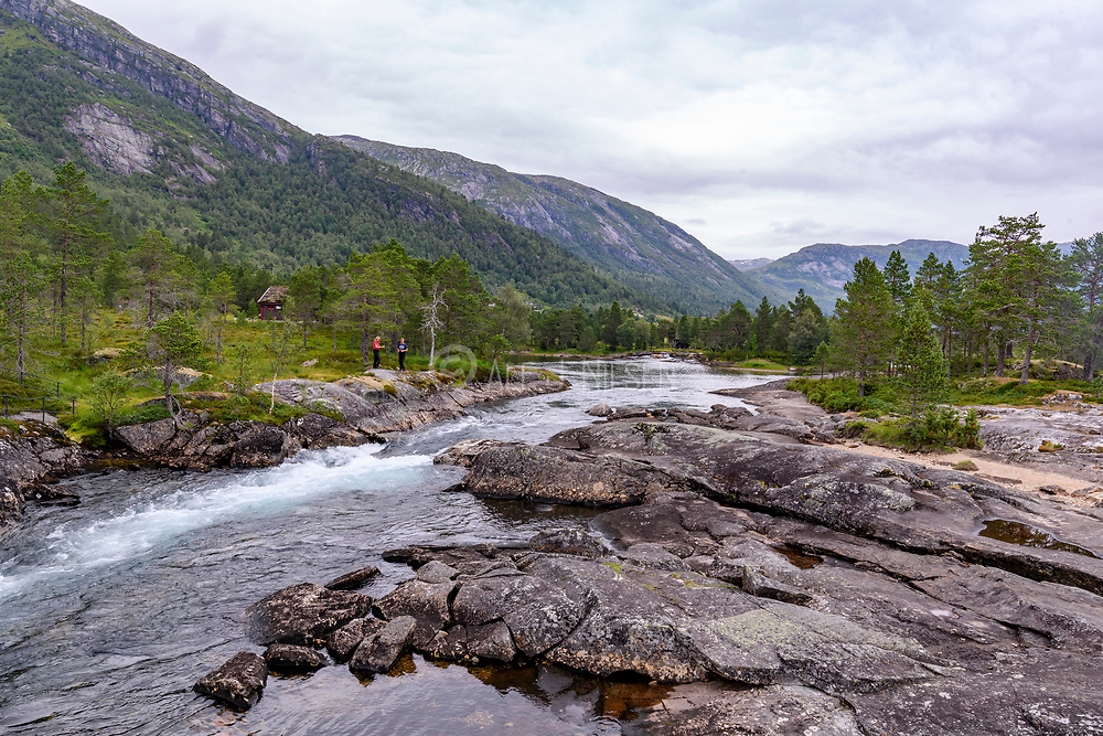 Likeholefossen in Sunnfjord (Vestland county), Norway in July.