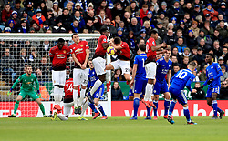Leicester City's James Maddison (second right) takes a free kick but Manchester United's Paul Pogba (centre) blocks it during the Premier League match at the King Power Stadium, Leicester.