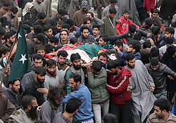 November 1, 2018 - Budgam, Jammu and Kashmir, India - People carry the dead body of a local rebel Mukhtar Ahmad Khan during his funeral in Chill Brass area on central Kashmir's Budgam some 52 kilometers  from Srinagar the summer capital of Indian controlled Kashmir on November 01, 2018.Mukhtar was killed along with his associate during a gun-battle in Zagoo village of central Kashmir's Budgam. (Credit Image: © Faisal Khan/ZUMA Wire)