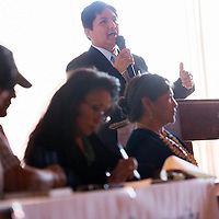 053013       Cable Hoover<br /> <br /> Navajo Nation human rights attorney Calvin Lee Jr. speaks during a panel discussion at a Diné Community Advocates Alliance food forum at Diné College in Tsaile Thursday.