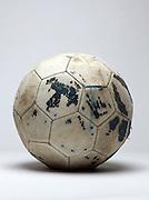 old dilapidated leather football