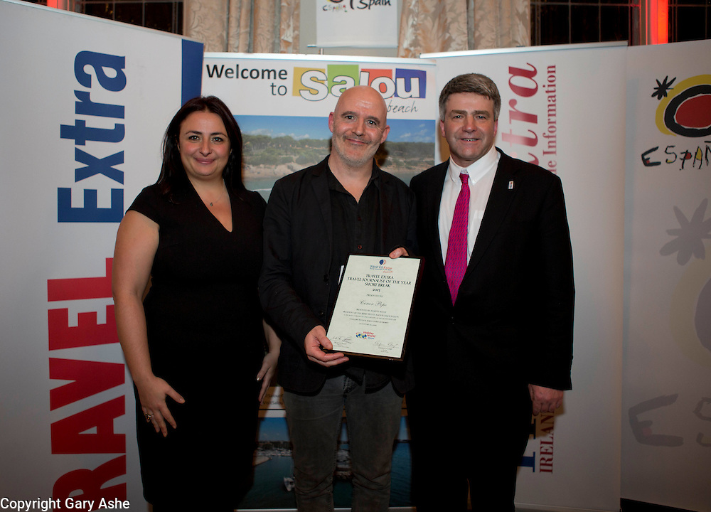 FOR IMMEDIATE RELEASETravel Extra Travel Journalist of the Year Awards Announced In Dublin<br /> <br /> Pic shows Short Break winner Conor Pope (Irish Times) with Carina Dimech(Malta Tourism Authority) and Martin Skelly (Irish Travel Agents Assoc) at the awards in Dublin tonight.<br /> Pic Gary Ashe.22/1/2016Dublin, 22nd JANUARY 2016   Isabel Conway was presented with the Travel Extra Journalist of the Year Award at a ceremony held to coincide with the annual Holiday World Show, which takes place at the RDS Simmonscourt, Dublin this weekend.Ten other winners, each for different holidaying categories, were announced this evening at a dinner in Thomas Prior House, Ballsbridge which was attended by the cream of Irish travel and tourism writers and broadcasters.  The event was sponsored by the Spanish Tourism Office, Salou.  The award winners were chosen by a distinguished panel of senior Irish journalists. This year saw a huge increase in the number of submissions from previous years, displaying the creativity and continuing innovation of travel and tourism journalism in Ireland. The category winners were:Newcomer/Young Journalist AwardJamie Blake Knox of the Sunday IndependentSponsored by Falcon HolidaysSkiing AwardCatherine Murphy of Sunday Business Post Sponsored by Topflight & Gastein Tourist Board AustriaNorthern Ireland AwardMal Rogers of the Irish Times Sponsored by Northern Ireland Tourist BoardHome Holiday AwardYvonne Gordon of the Sunday TimesSponsored by Fáilte IrelandBroadcasting AwardMary Fanning of RTE Nationwide Sponsored by Cassidy TravelDigital AwardDeirdre Mullins of RTE Ten Sponsored by ClickandgoShort Break AwardConor Pope of the Irish TimesSponsored by Malta Tourist AuthoritySun Break AwardConor Power of the Irish Examiner Sponsored by Sunway TravelSpain AwardPól Ó Conghaile of National Geographic TravellerSponsored by Spanish Tourism OfficeLong Haul AwardIsabel Conway of Sunday Business Post Sponsored by Turkish AirlinesOverall winner of the Trave