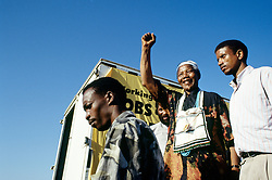 NELSON ROLIHLAHLA MANDELA (July 18, 1918 - December 5, 2013), 95, world renown civil rights activist and world leader. Mandela emerged from prison to become the first black President of South Africa in 1994. As a symbol of peacemaking, he won the 1993 Nobel Peace Prize. Joined his countries anti-apartheid movement in his 20s and then the ANC (African National Congress) in 1942. For next 20 years, he directed a campaign of peaceful, non-violent defiance against the South African government and its racist policies and for his efforts was incarcerated for 27 years. Remained strong and faithful to his cause, thru out his life, of a world of peace. Transforming the world, to make it a better place. PICTURED: 1994 - South Africa - NELSON MANDELA in traditional Xhosa attire greets ANC supporters at Bisho stadium in the Transkei homeland during the 1994 election camapign that led to his ANCs victory in the first democratic, non racial election in South Africa.  (Credit Image: © Greg Marinovich/ZUMA Wire/ZUMAPRESS.com)