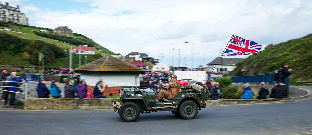 © Licensed to London News Pictures. <br /> 10/09/2017 <br /> Saltburn by the Sea, UK.  <br /> <br /> An entrant drives his Jeep up the hill during the annual Saltburn by the Sea Historic Gathering and Hill Climb event. Organised by Middlesbrough and District Motor Club the event brings together owners of a wide range of classic cars and motorcycles dating from the early 1900's to 1975. Participants take part in a hill climb to test their machines up a steep hill near the town. Once held as a competitive gathering a change in road regulations forced the hill climb to become a non-competitive event.<br /> <br /> Photo credit: Ian Forsyth/LNP