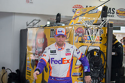 March 1, 2019 - Las Vegas, NV, U.S. - LAS VEGAS, NV - MARCH 01: Denny Hamlin (11) Joe Gibbs Racing (JGR) Toyota Camry during practice for the Pennzoil 400 Monster Energy NASCAR Cup Series race on March 01, 2019, at the Las Vegas Motor Speedway in Las Vegas, Nevada (Photo by Matthew Bolt/Icon Sportswire) (Credit Image: © Matthew Bolt/Icon SMI via ZUMA Press)
