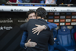 November 19, 2017 - Barcelona, Catalonia, Spain - Valencia CF coach Marcelino Garcia Toral  and RCD Espanyol coach Quique Sanchez Flores during the match between RCD Espanyol vs Valencia CF, for the round 12 of the Liga Santander, played at RCD Espanyol Stadium on 19th November 2017 in Barcelona, Spain. (Credit Image: © Urbanandsport/NurPhoto via ZUMA Press)