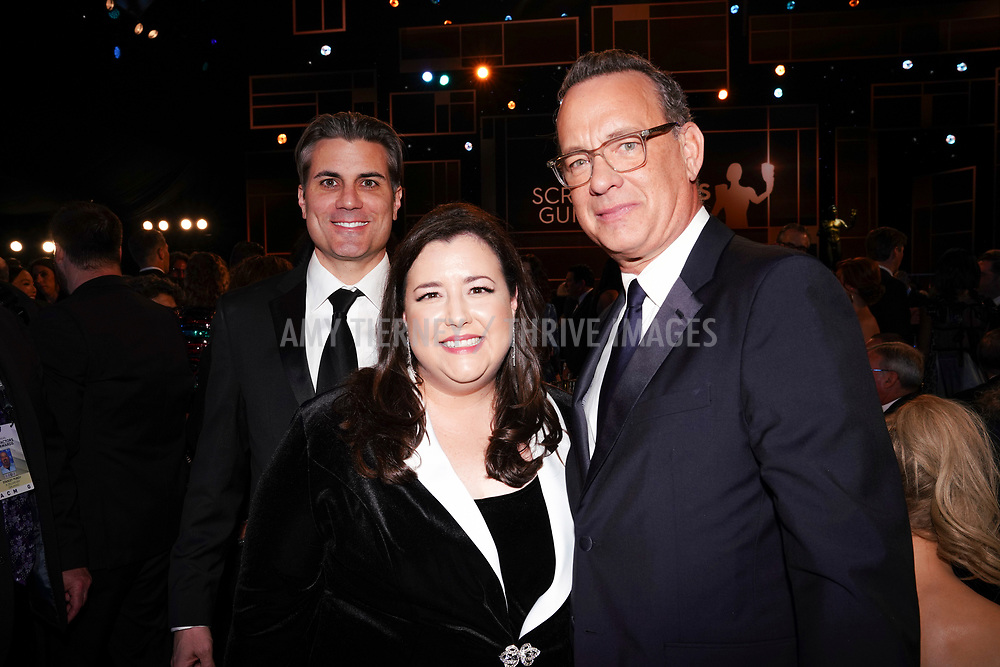 SAG-AFTRA New York Local Executive Director Jeffrey Bennett, SAG-AFTRA Local President Rebecca Damon, and Tom Hanks