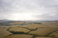 Aerial view of an isolated residence in countryside landscape, Italy.