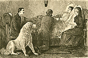 'Young woman dying of Scarlet Fever caused by Streptococcus pyogenes. Before the introduction of modern drugs this was a serious complaint. Illustration by George du Maurier, Londo, 1880.'