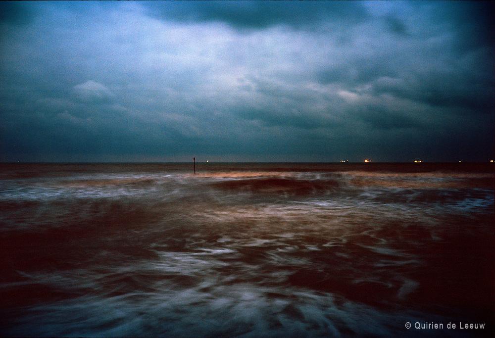 Sea at night, North sea, Netherlands