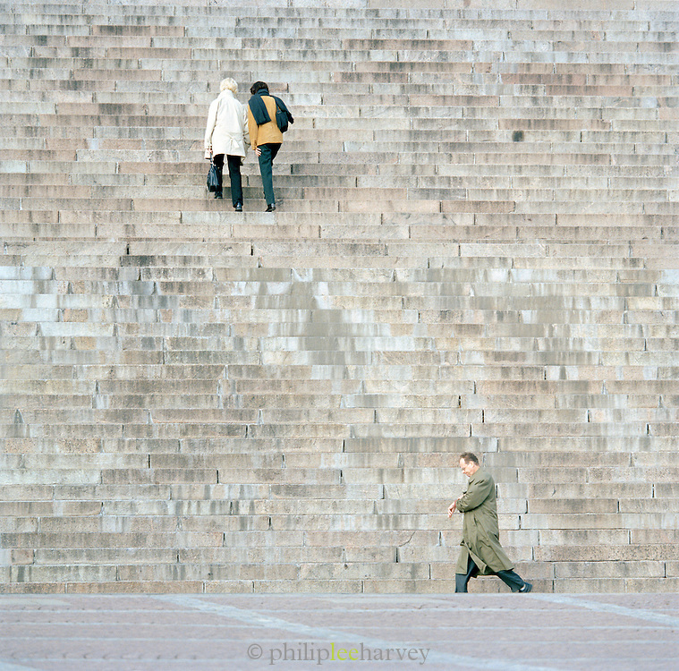 People climbing steps to cathedral, Helsinki, Finland