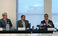 May 23, 2019 - Miami, FL, USA - Los representantes legales de la familia de Juan Gabriel durante la conferencia de prensa en el downtown de Miami. (Desde la izq): los abogados Steven M. Ebner, Francis E. Rodriguez y Guillermo Pous Fernández. (Credit Image: © TNS via ZUMA Wire)