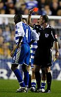 Photo: Richard Lane/Sportsbeat Images.<br />Reading v Chelsea. The FA Barclays Premiership. 15/08/2007. <br />Referee, Michael Dean sends off Reading's Kalifa Cisse.