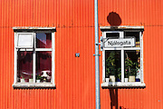 A metal clad house detail in Reykjavik, Iceland.  Most homes in Reykjavik are heated by geothermal energy.