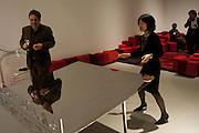 GRAHAM SHEFFIELD; CURATOR; LYDIA YEE; PLAYING PING PONG, Ron Arad; Restless. Cocktail reception hosted by Kate Bush of the Barbican and Tony Chambers of Wallpaper magazine. Barbican art Gallery. London. 17 September 2010