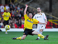 Photo: Leigh Quinnell.<br /> Watford v Hull City. Coca Cola Championship. 20/10/2007. Watfords John-Joe O'Toole jumps into a strong challenge with Hulls Stuart Elliott.